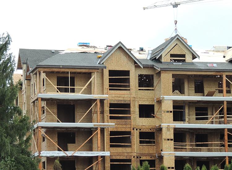 New Roof Construction at Yorkson Creek Condos, Langley BC: Close-Up