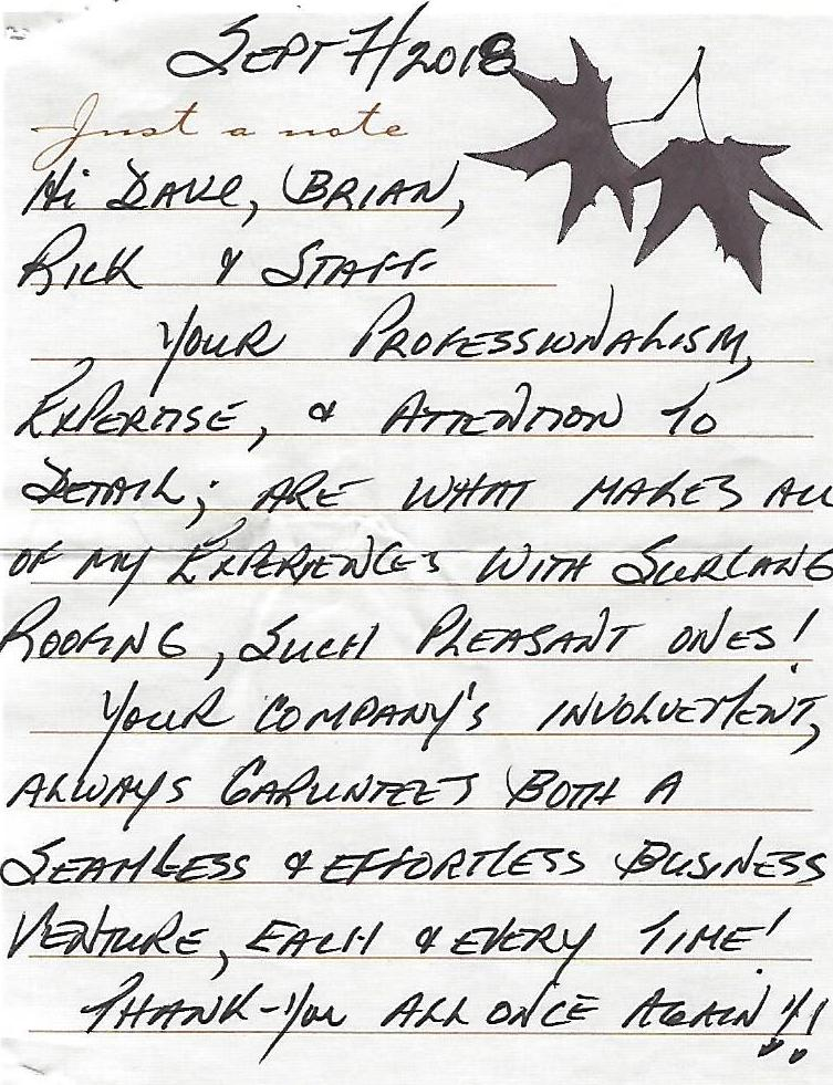 Customer Appreciation Letter Surlang Roofing Services Review