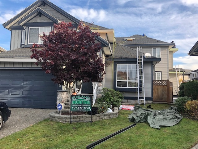 Residential reroofing project in Surrey, BC